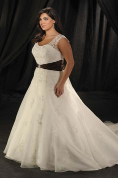 Shop Hot Selling Charming A Line Scoop Belt Court Train Plus Size Wedding Dress Online affordable for each occasion
