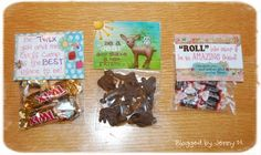 """These are the nightly """"pillow treats"""" we'd place on their bed each night. Those are always so cute to put together for them. I was influenced on the deer one by my cute friend Rebecca L. I love the chocolate animal cookies - I just told everyone they were deer cookies ;)"""