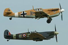BF 109 flying formation with a Spitfire. My Blogs: Beautiful Warbirds Full Afterburner The Test Pilots P-38 Lightning Nasa History Science Fiction World Fantasy Literature & Art