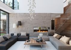Stone and Wood Home with Creative Fixtures