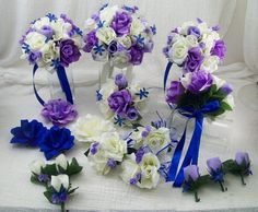 Royal Blue Lilac And Ivory Roses 18 Pieces Made To Order Brides On A Budget