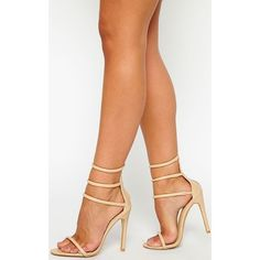 Nadine Nude Strappy Heeled Sandals (142 855 LBP) ❤ liked on Polyvore featuring shoes, sandals, nude sandals, strap high heel sandals, strap heel sandals, strappy high heel sandals and faux leather shoes