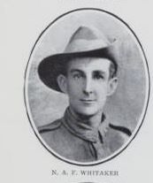 WHITAKER,   Norman   Augustus   Fielding.     No.   9542,   Ist   Army   Troop   Coy.,   late   4th  Sec.   Fid.   Engrs.   Born   and   educated   at  Maryborough.   The   son   of   William   Augustus   Fielding   Whitaker   and   Mary   Louisa   Whitaker,   of   Pialba.
