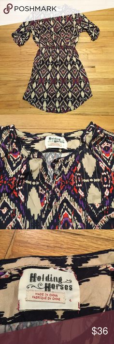 Anthropologie Holding Horses patterned dress - 4 Anthropologie Holding Horses patterned dress - size 4. Armpit to armpit - 20 inches. Length - 35 inches. Excellent condition. Anthropologie Dresses