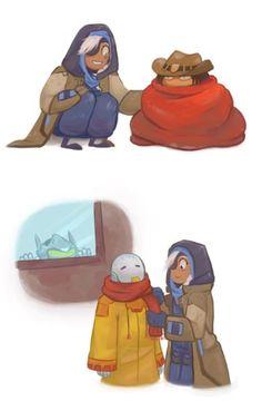 Grandma Ana making sure the kids stay cozy.