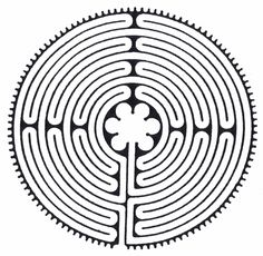 The pattern of Chartres labyrinth. According to this site, this 7-Path Classic Labyrinth is the oldest labyrinth design known in the world (since about 3,500 BC). Cool.