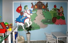 Wall paintings inspires for telling story's . Just point the figure and start telling - it's fun and develops good skills for creativeness and memorizing Wall Paintings, Dinosaur Stuffed Animal, How To Memorize Things, Wallpaper, Create, Fun, Handmade, Animals, Inspiration