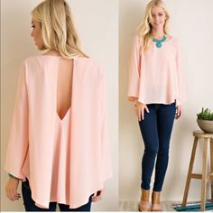 💥FLASH SALE💥 Blush Peek Back Blouse 💕AVAILABLE in SMALL, MED, LARGE  •Blush Pink Color •Chiffon Style Flare Blouse •Key Hole Back •100% Polyester    💕SMALL: 40in B, 25in Front Length, 29in Back Length     MED: 42in B, 25in Front Length, 29in Back Length     LARGE: 44in B, 26in Front Length, 30in Back Length  SKU# T1600S2 ••••••••••••••••••••••••••••••••••••••••  Let's keep in touch 💕 💟Instagram: @monikarosesf 💟YouTube: MonikaRoseSF 💟Snapchat: itsmonikarose Monika Rose SF Tops Blouses