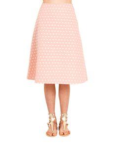 KATYA DOBRYAKOVA POLKA SKIRT SS 2016 Trapeze skirt with contrast polka-dots back zipper closure 80% Acrylic  20% Cotton lining: 95% Silk 5% Spandex professional cleaning