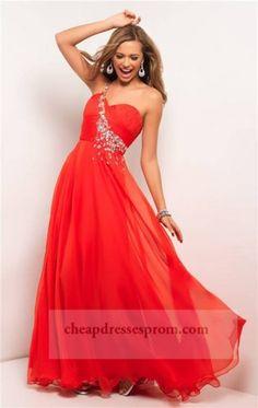 Long Red Beaded One Shoulder Prom Dresses 2014 c9f87e6e132b