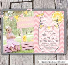 Pink Lemonade Invitation Printable - Chevrons - Mason Jar - Bunting - Lemonade Stand Birthday Party Invite