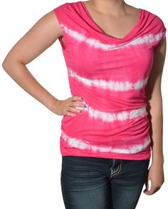 INC International Concepts Draping Cowl Neck Top Tie Dye Sequin Cap Sleeve Shirt #INCInternationalConcepts #KnitTop #Casual