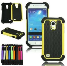 XYUN For Samsung Galaxy S4 S IV Mini i9190 i9192 New Shockproof Hybrid Heavy Duty Impact Rugged Case Combo Skin Cover (yellow)