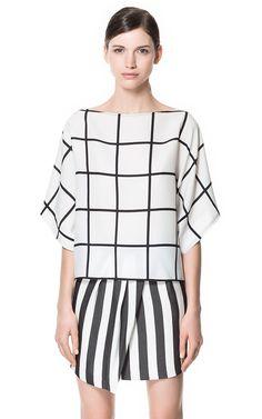 CHECKERED BLOUSE - Shirts - Woman - ZARA United States