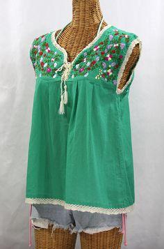 """La Marbrisa"" Embroidered Sleeveless Peasant Blouse Top - Green + Multi"