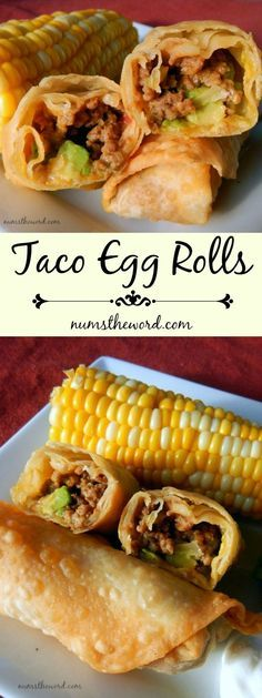 Main Dishes Taco Egg Rolls - If Food & Recipes Taco Egg Rolls - If you love Tacos try these easy Taco Egg Rolls. A taco rolled up into an egg roll and fried. Mexican Dishes, Mexican Food Recipes, Beef Recipes, Cooking Recipes, Cooking Kale, Cooking Steak, Easy Recipes, Taco Egg Rolls, Egg Rolls Baked