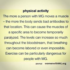 The easy explanation to why it's difficult for people with myasthenia gravis to exercise!