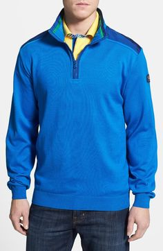 Sporty nylon panels accent the shoulders and elbows of a quarter-zip sweater knit from comfy length (size Medium). Paul Shark, Zip Sweater, Cobalt, Knitwear, Sporty, Classic, Fitness, Sweaters, Cotton