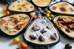 Raclette Special: Dessert im Pfännchen - Delicious Stories Raclette Recipes, Raclette Party, Brunch Recipes, Cake Recipes, Breakfast Recipes, Dessert Recipes, Breakfast Casserole, Raclette Ideas, Raspberry Desserts