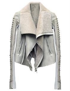 Rick Owens Antique White Leather Jacket with Studded Sleeves and Fleece Lining. Love this!