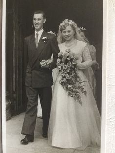 Grandparents walking out of their wedding - 1951