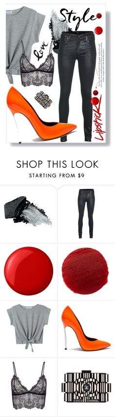 """""""Orange is the new black"""" by drerak ❤ liked on Polyvore featuring Gorgeous Cosmetics, Citizens of Humanity, Victoria Beckham, Essie, Lipstick Queen, Anine Bing and Chanel"""