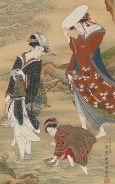 Two women and a girl on the seashore. Color and gold on silk panel. Late 18th to early 19th century, Japan, by artist Utagawa Toyoharu.
