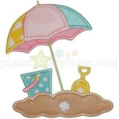 Beach Umbrella - Planet Applique Inc Embroidery Monogram, Applique Embroidery Designs, Machine Embroidery Applique, Applique Patterns, Cross Stitch Embroidery, Quilt Patterns, Beach Themed Quilts, Beach Quilt, Applique Tutorial