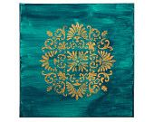 India inspired with phthalo green and intricate gold design. 12 in by 12 in Acrylic painting.
