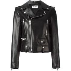 Saint Laurent embroidered love patch biker jacket (14335 TND) ❤ liked on Polyvore featuring outerwear, jackets, black, collared leather jacket, embroidered leather jacket, leather biker jacket, motorcycle jacket and long sleeve jacket