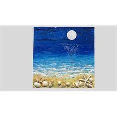 """ULTIMA CREAZIONE. """" Ricordi del mare con luna """" Acrilico spatolato su tela a cassetto con malte, sabbie e conchiglie di mare applicate. Versione notturna del mare, con luna e con conchiglie vere. Un paesaggio che nella notte illumina conchiglie vere sulla sabbia dorata. Ideale per case e ambienti di mare."""