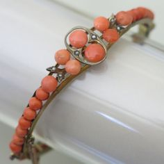 Antique Victorian Coral Bead Seed Pearl Bangle Bracelet
