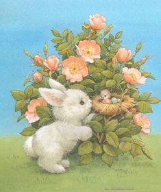 Bunny and Bird Bunny Art, Cute Bunny, Easter Pictures, Art Pictures, Animal Drawings, Cute Drawings, Easter Drawings, Lapin Art, Illustration Mignonne