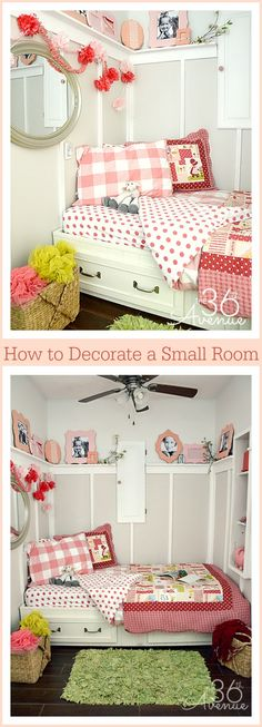 This bedroom used to be a laundry room... Cute ideas of how to decorate a small space! If we ever have the need to turn the office/scrap room into another bedroom