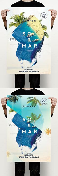 Flyer Design Sol & Mar Flyer – This flyer / poster can be used to host a beach party, dj ev… Flyer Poster, Dm Poster, Party Poster, Web Design, Layout Design, Design Art, Design Ideas, Food Design, Webdesign Inspiration