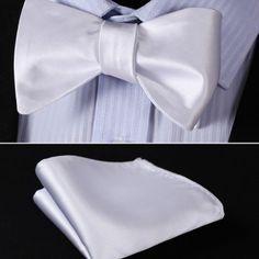 Elegantný hodvábny set - motýlik a vreckovka, v bielej farbe