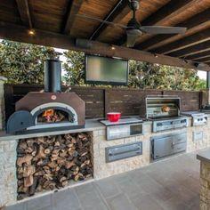 Outdoor Cooking Area, Outdoor Kitchen Patio, Outdoor Kitchen Design, Outdoor Rooms, Outdoor Grill Space, Built In Outdoor Grill, Rustic Outdoor Kitchens, Outdoor Grilling, Outdoor Living