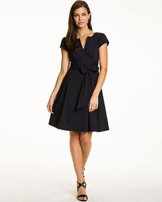 Stretch Poplin Belted Fit & Flare Dress - Be chic and comfortable at the workplace in this woven, V-neck, cap-sleeve dress. Pin Up Style, My Style, Fit Flare Dress, Fancy Dress, Cap Sleeves, Autumn Fashion, Dresses For Work, V Neck, Chic