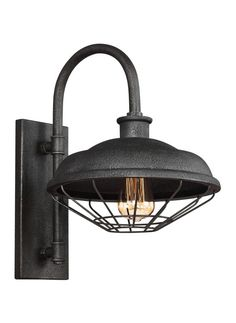 """Feiss WB1828 Lennex Single Light 17"""" Tall Outdoor Wall Sconce Slated Grey Metal Outdoor Lighting Wall Sconces Outdoor Wall Sconces"""