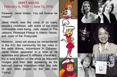 "It is so sad to hear yet another acting legend has passed on. Janet Waldo made a name for herself in radio, television and voice over. Janet was an all around actor with incredible talent. Most remember her best as Judy Jetson in ""The Jetsons"" but fans of Adventures in Odyssey knew and loved her as Joanne Allen.   The character of Joanne appeared in 28 episodes, first appearing in ""The Decision"" (airing in 1996) and making her last appearance in ""Home Again Part 2"" (airing in 2012)."