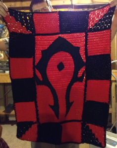 One of my guildmates, welcomed his first child to the world on June 4th. I celebrated by making this blanket for the wee tank-in-training.  #WoW #Warcraft #FortheHorde