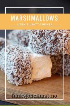 Marshmallows uten tilsatt sukker Marshmallows, Fritters, Cereal, Protein, Low Carb, Keto, Healthy Recipes, Breakfast, Snacks
