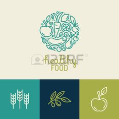 Vector logo design template with fruit and vegetable icons in trendy linear style abstract emblem fo Stock Vector
