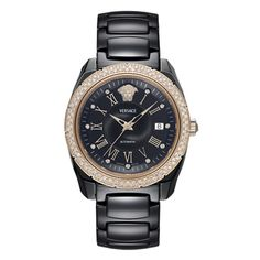 Want one of these with 50% OFF?… Visit: http://thewaje.com/New-Fashion-Watches/Versace-Watches/Versace-DV-One%20-Automatic-01AC91D009SC09 This beautiful ladies Versace DV One black ceramic diamond set watch has an automatic movement and scratch resistant sapphire crystal glass. The black ceramic case is 41mm in diameter and has a rose gold bezel pave set with round-cut diamonds. The black dial has rose gold hands, roman numeral markers and white diamonds marking each hour.