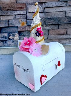 Unicorn Valentines Day Mailbox - The Keeper of the Cheerios Valentine Boxes For School, Valentines For Kids, Valentine Day Crafts, Valentine Box Unicorn, Diy Valentine's Box, Valentines Day Decorations, Glitter Hearts, White Glitter, Diy For Girls
