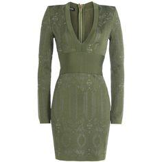 Balmain Knit Dress featuring polyvore, women's fashion, clothing, dresses, balmain, green, green v neck dress, print dress, patterned mini skirt, slimming dresses and v neck dress