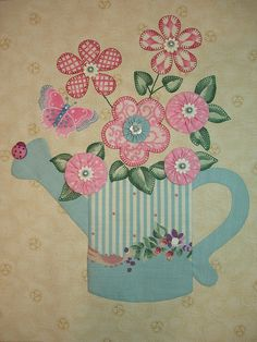 I ❤ embroidered & beaded applique . . . Watering Can Teapot Block- June 18, 2010 020- This is a 'watering can' teapot! Self-designed & hand stitched for Tea and Coffee Quilt Along. I tried two new techniques in this block: yoyo's and petal play applique using fusible web on both sides of fabric. I think I may add more stems for the flowers, but my fingers are sore from stitching. ~By Happy 2 Sew