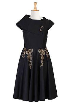 I <3 this Vintage floral embellished poplin dress from eShakti