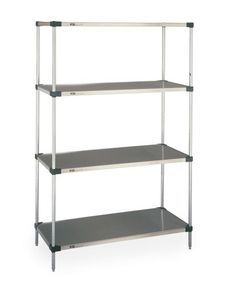 "Super Erecta Stainless Steel Solid Shelving has epoxy-coated cast corners and a raised ""ship's edge"" on all four sides to contain spills. Stainless Steel Kitchen Shelves, Commercial Shelving, Shelving Systems, Room Shelves, Wire Shelving, Wine Storage, Cabinet Doors, The Unit, Furniture"