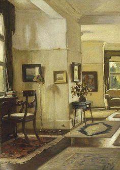 "Bernard Hall (1859 - 1935), ""Interno "", pittura ad olio. Pittore australiano."